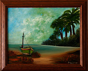 Barbara Hodges - Fishing boat and palm trees