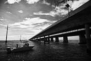 Fishing Boat Beneath New Seven Mile Bridge In Marathon In The Florida Keys Print by Joe Fox