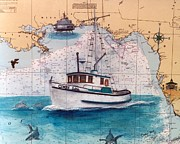 Map Art Painting Posters - Fishing Boat Cindy Lou FL Chart Map Art Cathy Peek Poster by Cathy Peek