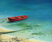 Beach Scenery Painting Prints - Fishing boat in island Corfu Print by Kiril Stanchev