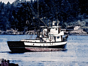 Boats Pyrography Prints - Fishing Boat Puget Sound Print by Lawrence Hubbs