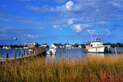 Boats At Dock Photo Posters - Fishing Boats at Dock Ocracoke Island Poster by Thomas R Fletcher