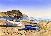 Margaret Merry Prints - Fishing boats at Las Negras Print by Margaret Merry