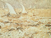 Entertaining Metal Prints - Fishing boats at Saintes Maries de la Mer Metal Print by Vincent van Gogh
