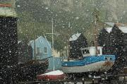Fishing Boats Covered With Snow In Old Print by Chris Parker