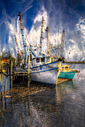 Florida Bridges Prints - Fishing Boats Print by Debra and Dave Vanderlaan