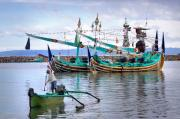 Colorful Photos Prints - Fishing Boats in Bali Print by Louise Heusinkveld