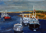 Chatham Painting Originals - Fishing Boats in Chatham by Michael Helfen