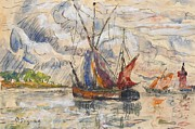 Sailboat Paintings - Fishing Boats in La Rochelle by Paul Signac