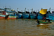 Southernmost Digital Art Prints - Fishing Boats in Mekong River-Vietnam Print by Ruth Hager