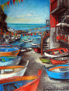 Umbrella Pastels Framed Prints - Fishing Boats In Riomaggiore Framed Print by EMONA Art