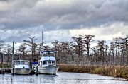Florida Bridge Photos - Fishing Boats by JC Findley