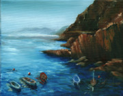Riomaggiore Paintings - Fishing Boats of Rio Maggiore by Leah Wiedemer