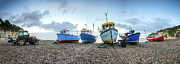 Shingle Beach Prints - Fishing Boats on Beach Print by Helen Hotson