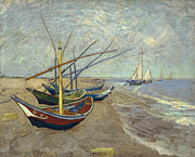 Fishing Art On Canvas Posters - Fishing boats on the Beach at Les Saintes-Maries-de-la-Mer Poster by Vincent Van Gogh