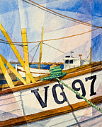 Ropes Paintings - Fishing Boats Watercolor by Lutz Baar