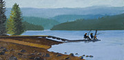 Guys Paintings - Fishing Buddies at Timothy Lake by Alice Leggett