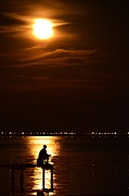 Northwest Florida Posters - Fishing by Moonlight01 Poster by Jeff at JSJ Photography