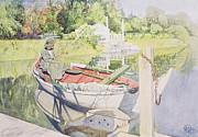 Moored Boat Framed Prints - Fishing Framed Print by Carl Larsson