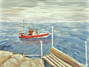Moored Paintings - Fishing Day on Georgian Bay by Reb Frost