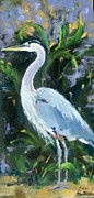 Blue Herron Painting Posters - Fishing Expert Poster by Sandra Harris