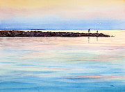 Cape Cod Paintings - Fishing From The Jetty at Sunset by Michelle Wiarda