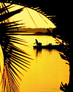 Topsail Island Photo Posters - FISHING in GOLD Poster by Karen Wiles
