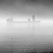 Fishing In The Fog Print by Mike McGlothlen
