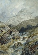 Water Flowing Painting Posters - Fishing in the mountains Poster by Gustave Dore