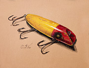 Yellow Line Painting Framed Prints - Fishing Lure Framed Print by Aaron Spong