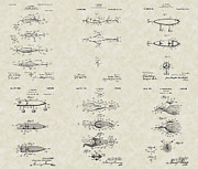Technical Drawings Posters - Fishing Lures Patent Collection Poster by PatentsAsArt
