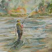 Wade Fishing Metal Prints - fishing Memories 2 Metal Print by David Camacho