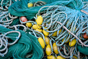 Textile Photographs Photos - Fishing Nets by Frank Tschakert
