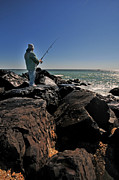 Fishing Off The Jetty Print by Paul Ward