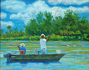 South Carolina Low Country Marsh Paintings - Fishing On The Cooper by Dwain Ray