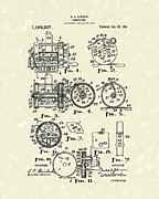 Christmas Card Drawings Posters - Fishing Reel 1916 Patent Art Poster by Prior Art Design