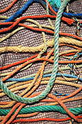 Yellow Line Prints - Fishing Ropes and Net Print by Carlos Caetano