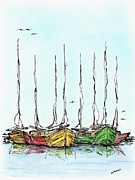 Illustrations Drawings - Fishing Sailboats Drawing Pen and Ink by Mario  Perez