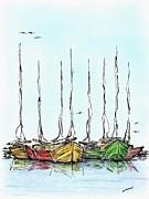 Fishing Sailboats Drawing Pen And Ink Print by Mario  Perez