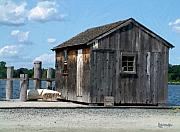 Shed Digital Art Metal Prints - Fishing Shack on the Mystic River Metal Print by RC deWinter
