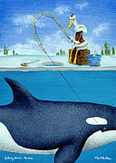 Winter Sports Painting Prints - Fishing Stories ... The Orca .. Print by Will Bullas