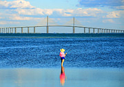 Sunshine Skyway Bridge Prints - Fishing Tampa Bay Print by David Lee Thompson