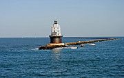 Photos Of Lighthouses Prints - Fishing The Breakwater Print by Skip Willits