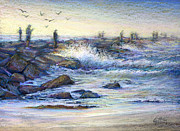 Sea Shore Pastels Prints - Fishing the Jetties Print by Laura Griffith
