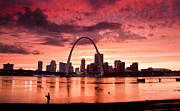 National Memorial Prints - Fishing the Mississippi in St Louis Print by Garry McMichael