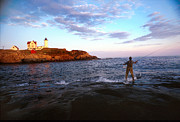 Nubble Lighthouse Posters - Fishing The Nubble Poster by Skip Willits