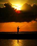 Fishermen Photos - FISHING the SUN by Karen Wiles