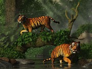 Bengal Digital Art - Fishing Tigers by Daniel Eskridge