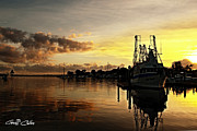 Prawn Boat Framed Prints - Fishing Trawler at Dawn. Framed Print by Geoff Childs