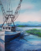 Trawler Drawings Metal Prints - Fishing Trawler Metal Print by Eric  Schiabor